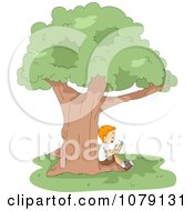 Clipart Boy Reading A Book In The Shade Of A Tree Royalty Free Vector Illustration by BNP Design Studio