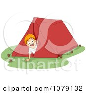 Summer Camp Boy Peeking Out From A Tent