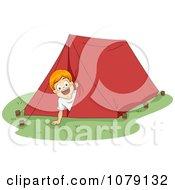 Summer Camp Boy Peeking Out From A Tent