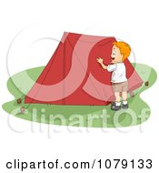 Summer Camp Boy Setting Up A Tent