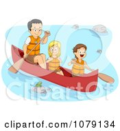 Father And Children Boating On A River