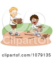 Clipart Two Boys Gathering Kindling Firewood Together Royalty Free Vector Illustration by BNP Design Studio
