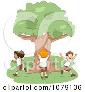 Clipart Summer Camp Kids Playing Hide And Seek Royalty Free Vector Illustration