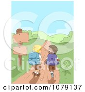 Clipart Summer Camp Boys Hiking On A Hilly Path Royalty Free Vector Illustration