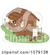 Clipart Summer Camp Kids Waving From Their Cabin Royalty Free Vector Illustration