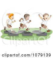 Clipart Summer Camp Kids Playing On A Tire Obstacle Course Royalty Free Vector Illustration by BNP Design Studio