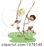 Summer Camp Boys Swinging On Ropes