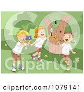 Clipart Summer Camp Kids Playing With Bugs Royalty Free Vector Illustration