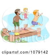 Summer Camp Kids Jumping Off Of A Dock And Swimming