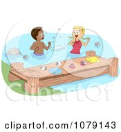 Clipart Summer Camp Kids Swimming By A Dock Royalty Free Vector Illustration