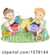 Clipart Summer Camp Kids Going Through Their Backpacks Royalty Free Vector Illustration by BNP Design Studio