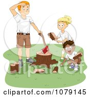 Summer Camp Counselor And Kids Chopping Fire Wood