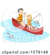 Clipart Father And Daughter Fishing And Boating On A River Royalty Free Vector Illustration by BNP Design Studio