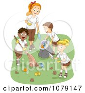 Clipart Summer Camp Counselor And Kids Cleaning Up Garbage Royalty Free Vector Illustration