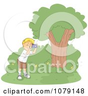 Clipart Summer Camp Boy Taking Nature Pictures Royalty Free Vector Illustration by BNP Design Studio