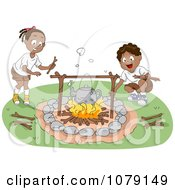 Clipart Black Boy And Girl Tending To A Camp Fire Royalty Free Vector Illustration