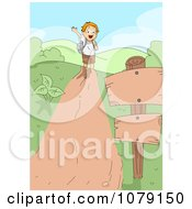 Clipart Summer Camp Boy Waving On A Hiking Trail Royalty Free Vector Illustration
