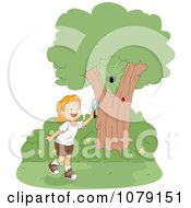Clipart Summer Camp Girl Watching Bugs Royalty Free Vector Illustration by BNP Design Studio