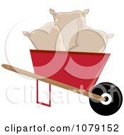 Clipart Seed Bags In A Red Wheelbarrow Royalty Free Vector Illustration