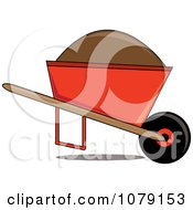 Clip Art Illustration Of A Cartoon Wheelbarrow Filled With Dirt