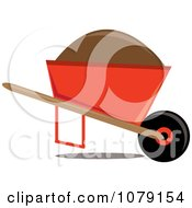 Clipart Mound Of Dirt In An Orange Wheelbarrow Royalty Free Vector Illustration