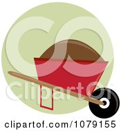 Clipart Mound Of Dirt In A Red Wheelbarrow Royalty Free Vector Illustration