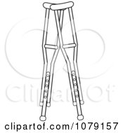 Pair Of Outlined Medical Crutches