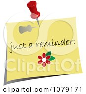 Clipart Red Push Pin Tacking A Just A Reminder Note To A Wall Royalty Free Vector Illustration