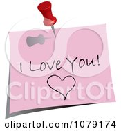 Clipart Red Push Pin Tacking An I Love You Note To A Wall Royalty Free Vector Illustration by Pams Clipart