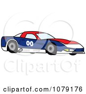Clipart Red White And Blue Race Car Royalty Free Vector Illustration