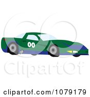 Clipart Green And Blue Race Car Royalty Free Vector Illustration
