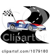 Clipart Red White And Blue Race Car On A Track With A Checkered Flag Royalty Free Vector Illustration by Pams Clipart