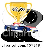 Clipart Red White And Blue Race Car On A Track With A Trophy Cup Royalty Free Vector Illustration