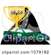 Clipart Green And Blue Race Car On A Track With A Trophy Cup Royalty Free Vector Illustration