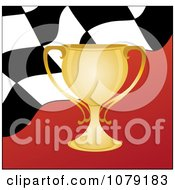 Clipart Gold Trophy Cup And Checkered Flag Royalty Free Vector Illustration