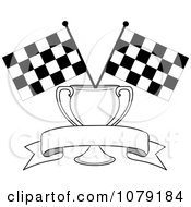 Blank Banner Trophy Cup And Two Checkered Race Flags