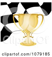 Gold Trophy Cup And Checkered Race Flag