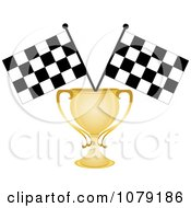 Gold Trophy Cup And Two Checkered Race Flags