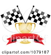 Red Banner Gold Trophy Cup And Two Checkered Race Flags