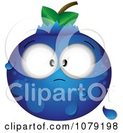 Clipart Cross Eyed Dewy Blueberry Royalty Free Vector Illustration
