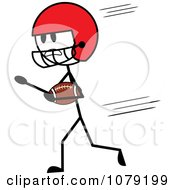 Stick Man American Football Player Running