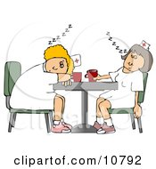 Two Exhausted Nurses Napping On A Break At The Hospital Clipart by djart