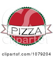 Clipart Pizza Banner Over A Red Circle Logo Royalty Free Vector Illustration