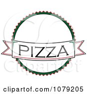 Clipart Pizza Banner Over A White Circle Logo Royalty Free Vector Illustration
