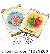 Clipart Packets Of Daisy Flower And Bell Pepper Seeds Royalty Free Vector Illustration