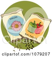 Clipart Packets Of Daisy And Bell Pepper Seeds Royalty Free Vector Illustration