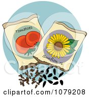 Clipart Packets Of Tomato And Sunflower Seeds Royalty Free Vector Illustration