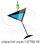 Clipart Blue Martini Glass With Olives Royalty Free Vector Illustration