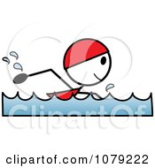 Stick Woman Swimming With A Cap