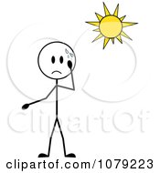Clipart Stick Boy Sweating In The Sun Royalty Free Vector Illustration